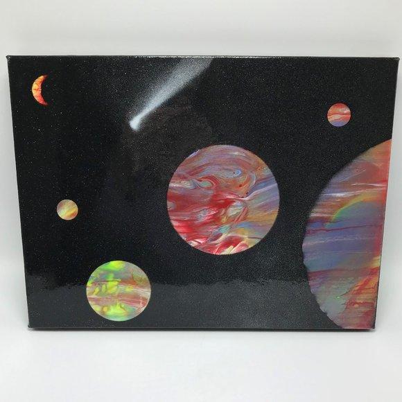 NWOT Galaxy Fluid Art Acrylic Painting on Canvas